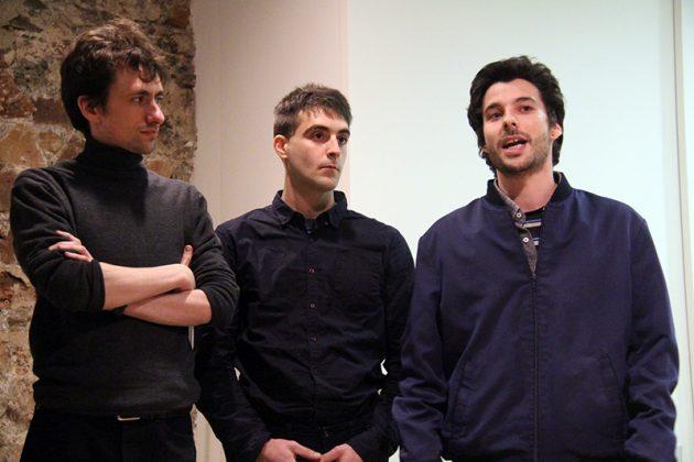 Inauguració de 'Individu'. D'esquerra a dreta, Roig, Saus i Àvila