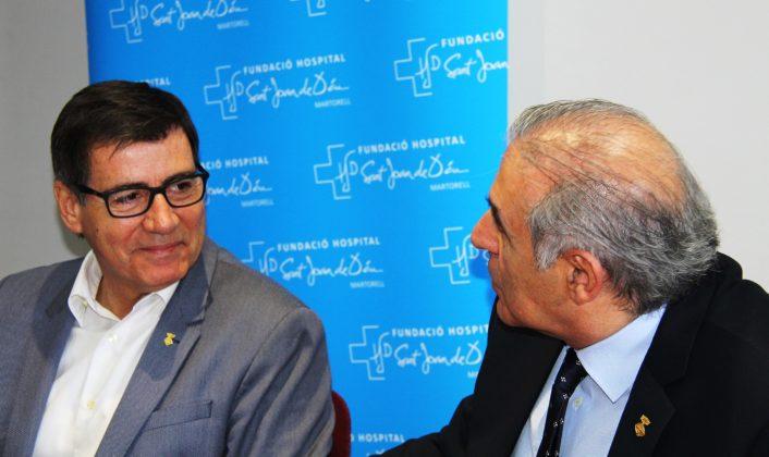 Xavier Fonollosa, alcalde de Martorell, i Enric LLorca, alcalde de Sant Andreu de la Barca