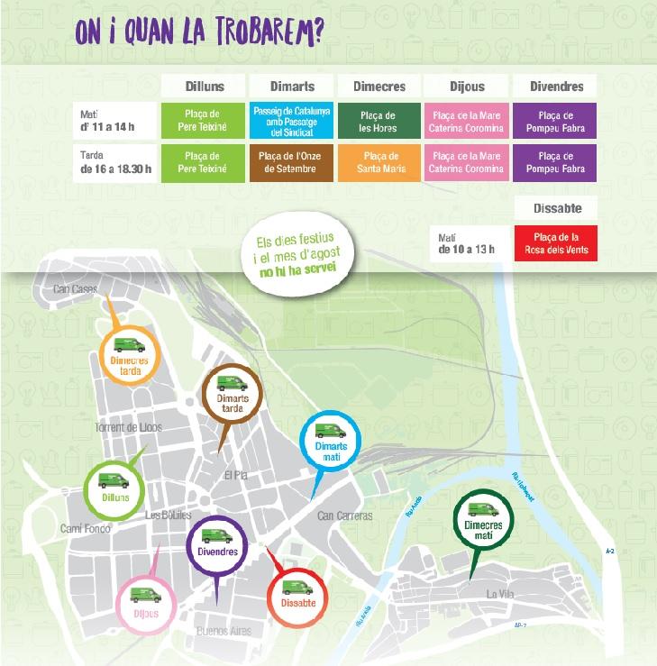 Horaris i ubicacions de la nova Deixalleria Mòbil