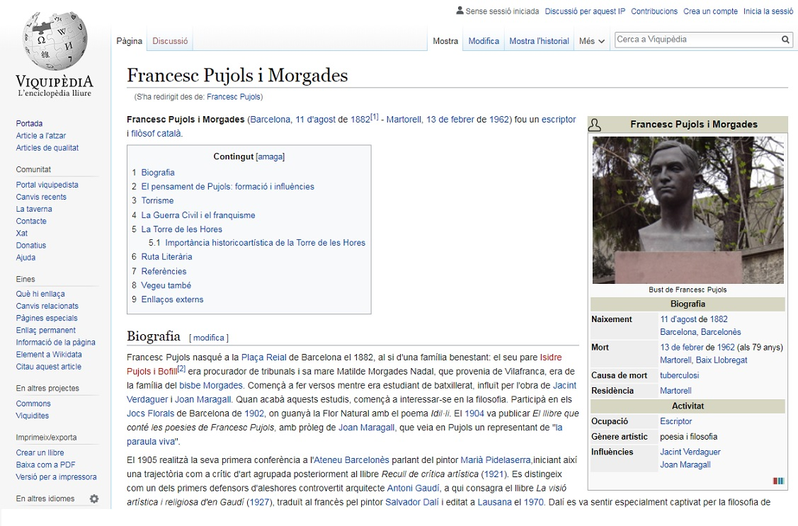 Viquipedia. Francesc Pujols