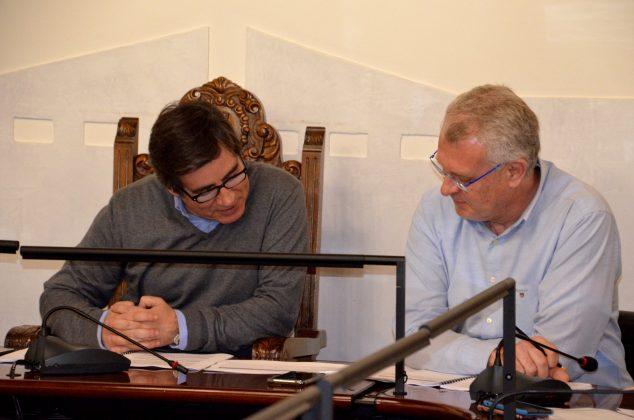 L'alcalde, Xavier Fonollosa, i el regidor d'Esports, Gerard Mimó