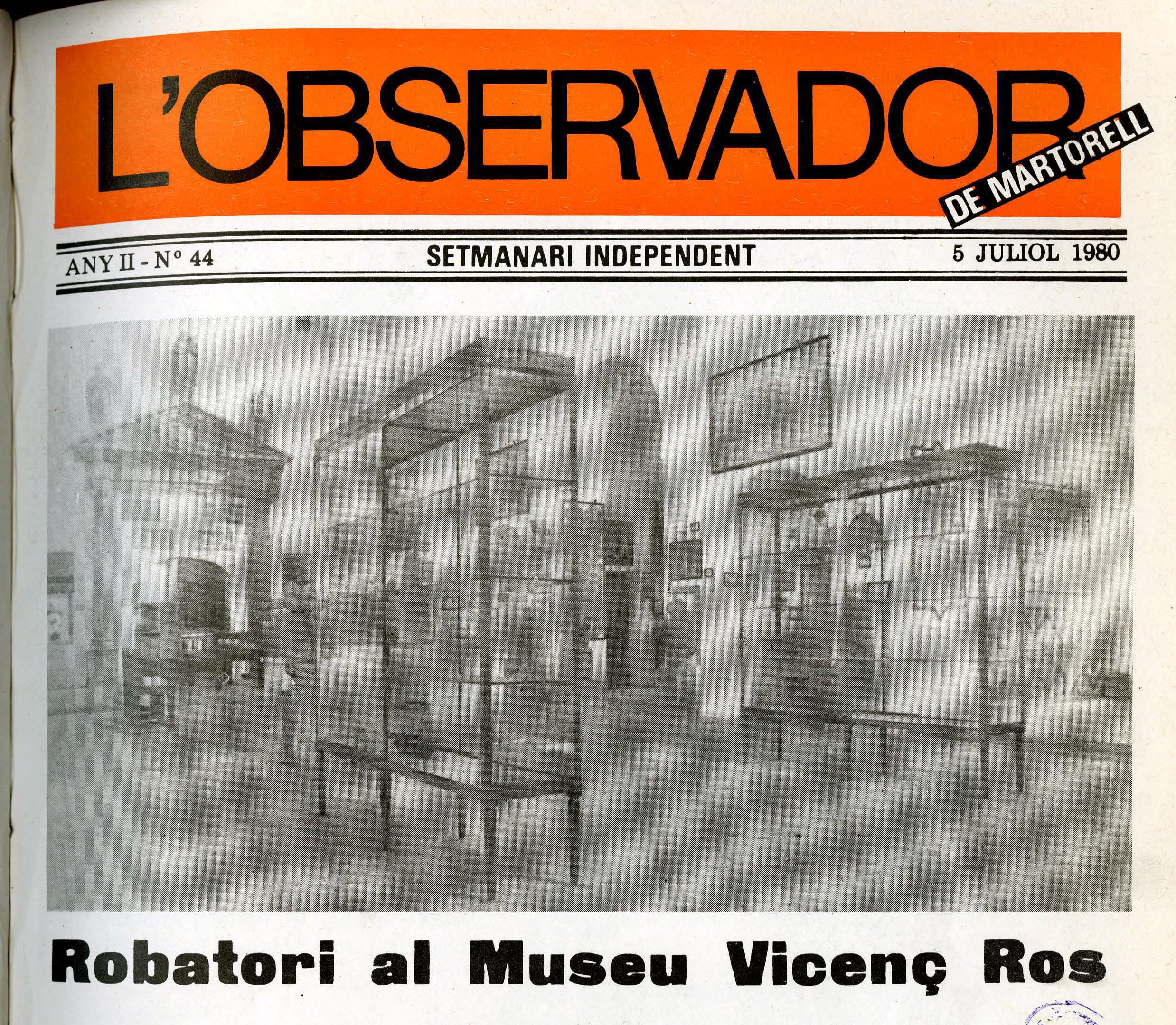 Portada de l'Observador de Martorell. 5 de Juliol de 1980