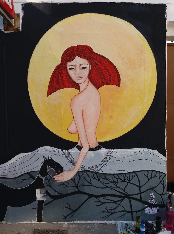 Obra de Mho Dueñas al certamen Las Meninas de Canido, a la praza Cruceiro de Ferrol