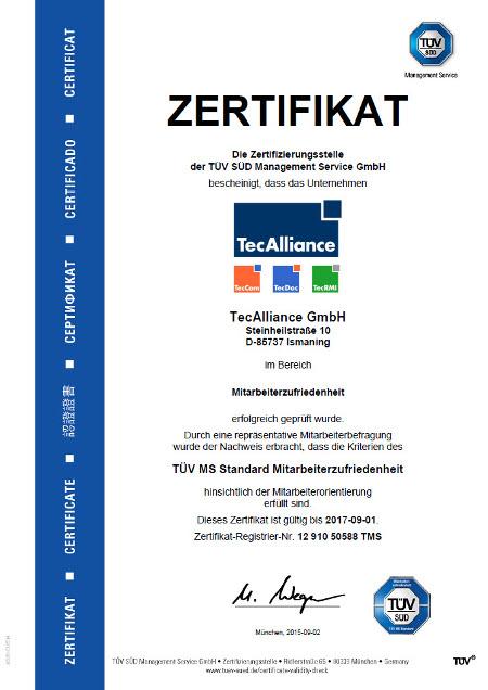 Das Zertifikat des TÜV SÜD bescheinigt die Zufriedenheit der TecAlliance Mitarbeiter mit ihrem Arbeitgeber.
