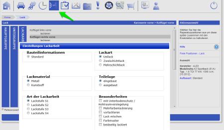 Screenshot des neuen TecRMI Moduls TecPAINT, das Informationen zur Kalkulation von Lackierarbeiten liefert.