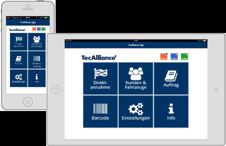 In der App TecAlliance MOBILE werden die standardisierten Daten und Funktionen der bewährten TecAlliance-Produkte optimal kombiniert mit dem Komfort und den Annehmlichkeiten von Mobilgeräten.