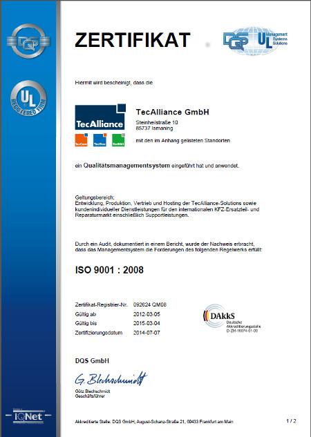 Die Zertifikatsurkunde der TecAlliance GmbH