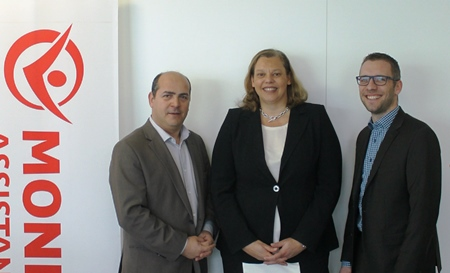 Youcef Boudjemai (project manager at Mondial Assistance France, left in the picture), Cécile François (Director of Purchasing and Partnerships – France at Mondial Assistance) and Christian Bergmann (Director of Sales Fleet & Leasing at TecAlliance) are delighted about the successful implementation of TecCONTROL.