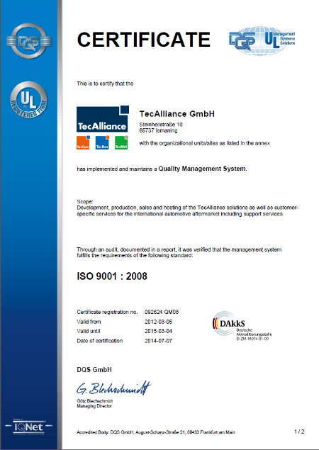The Certificate for TecAlliance GmbH
