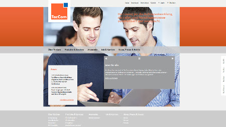 Screenshot of the new TecCom homepage