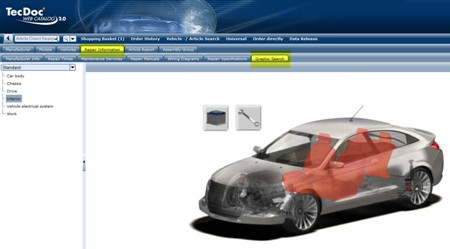 Customers can look up repair information with a graphic selection directly from the TecDoc Web catalogue.