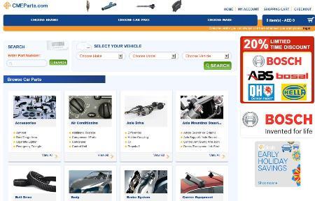 Screenshot of the CM&E online shop.