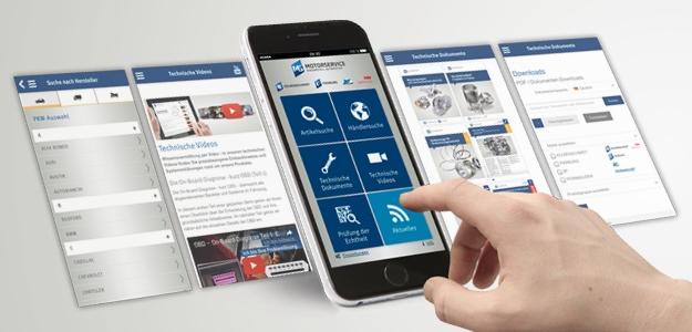 Mechaniker können mit der neuen Motorservice App direkt am Fahrzeug mobil Produkt- und Reparaturinformationen abfragen.