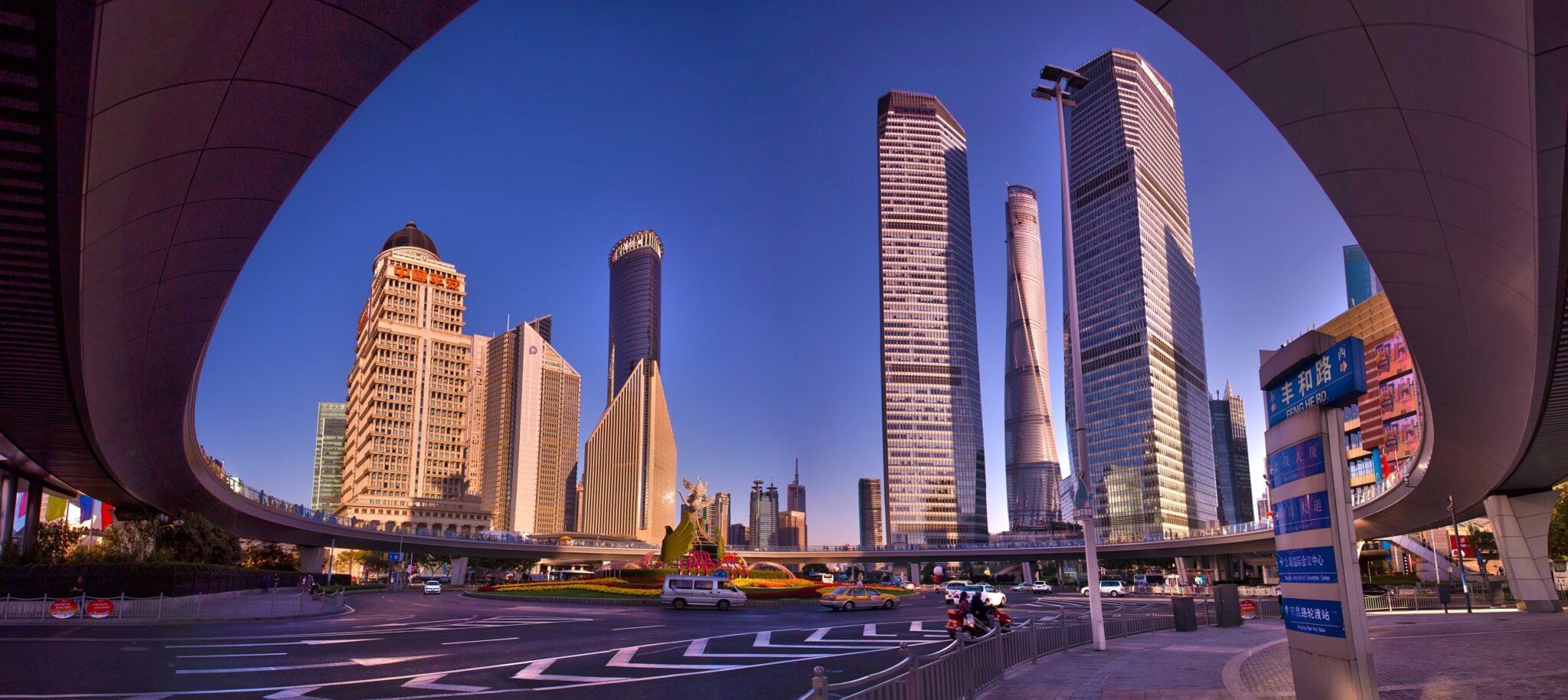 Panorama of the lu jia zui international financial centre in Shanghai