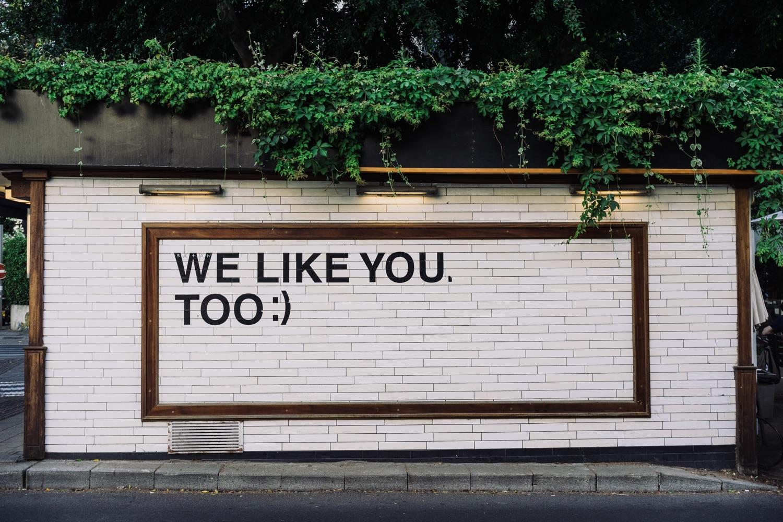 "Wandbild: ""We like you, too"". Foto Adam Jang/Unsplash"