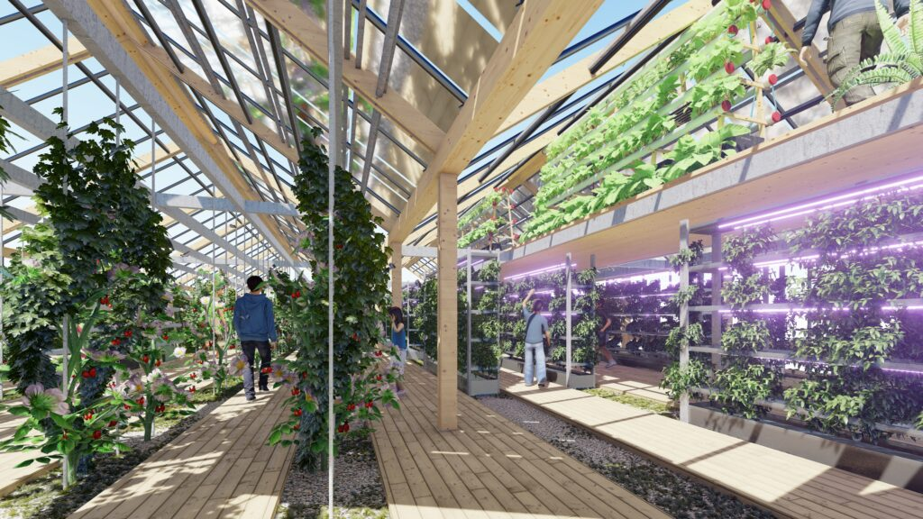 Recreació virtual d'un hivernacle alimentat per energia solar, a la 'Ciutat autosuficient' de Xiong'an / Guallart Architects