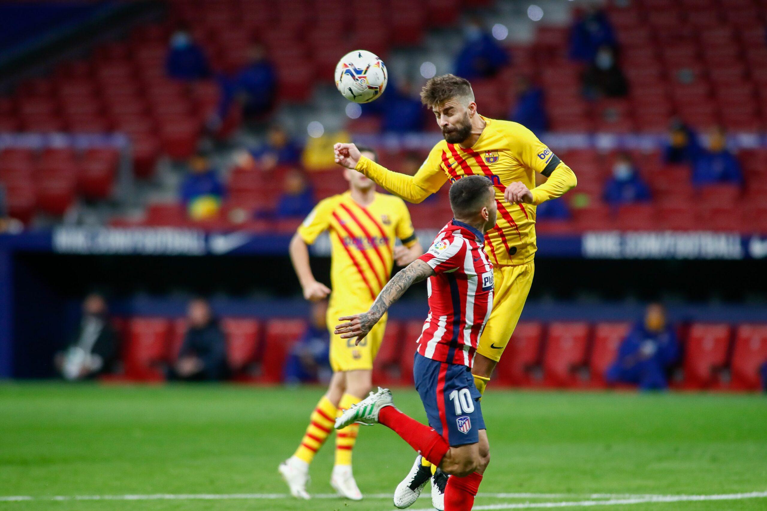 Gerard Piqué, durant el partit del Barça contra l'Atlètic de Madrid | Europa Press