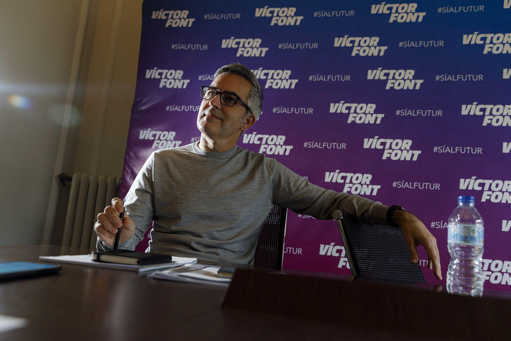 Víctor Font, en un moment de l'entrevista amb El Món  Jordi Borràs
