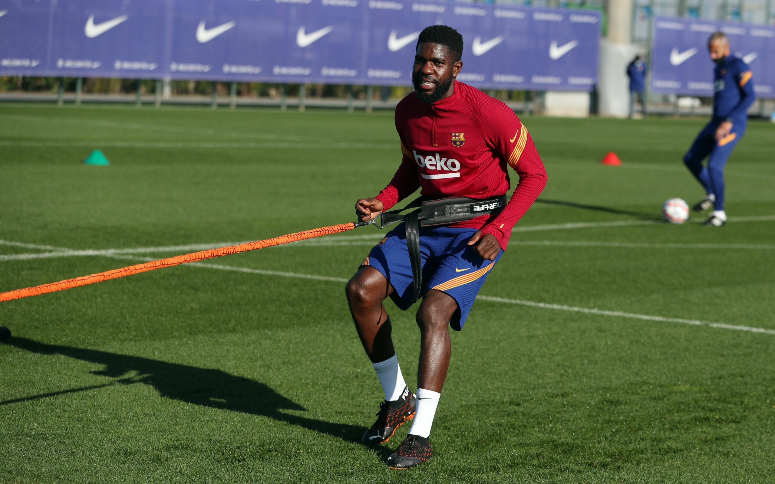 Samuel Umtiti, durant un entrenament | FC Barcelona