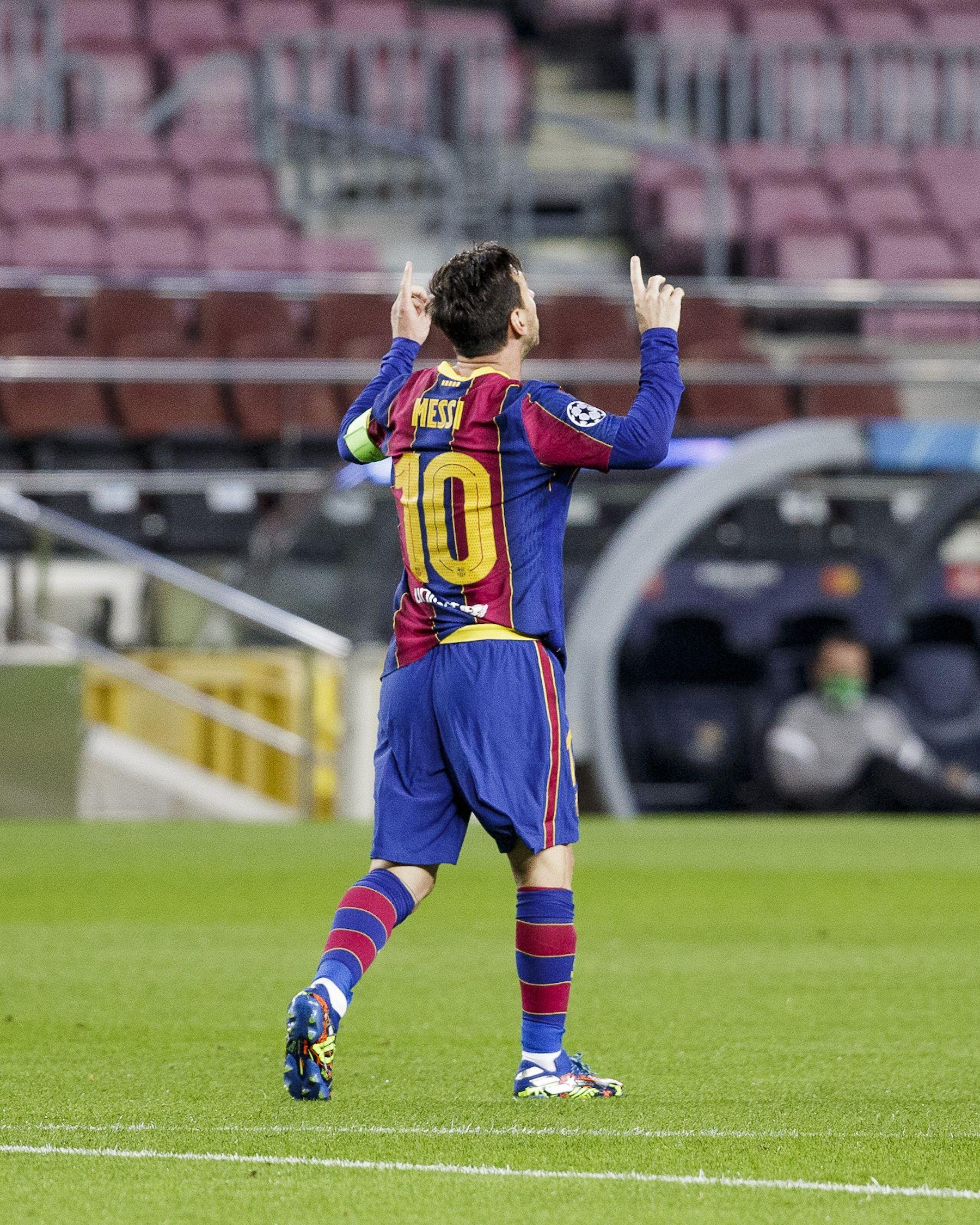 Leo Messi celebra el seu gol contra el Ferencváros   FC Barcelona