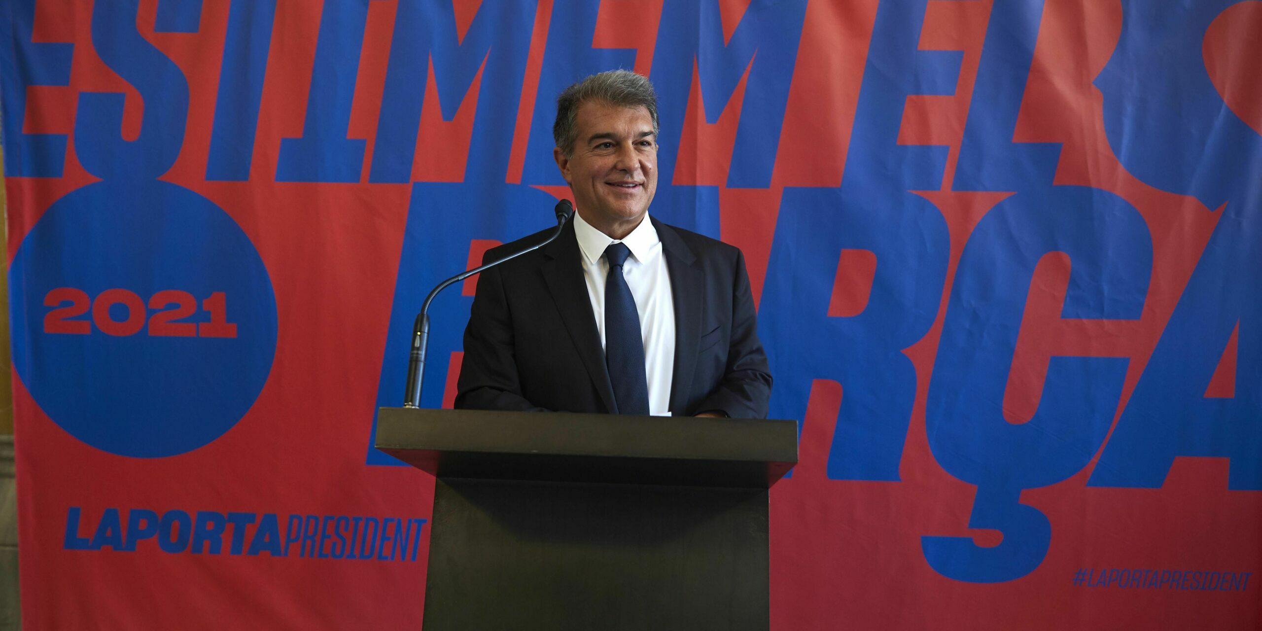 Joan Laporta, durant la presentació de la seva precandidatura a les eleccions del Barça  Estimem el Barça