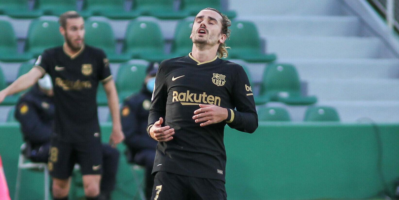 Griezmann es lamenta durant el partit del Barça a l'Elx | Europa Press