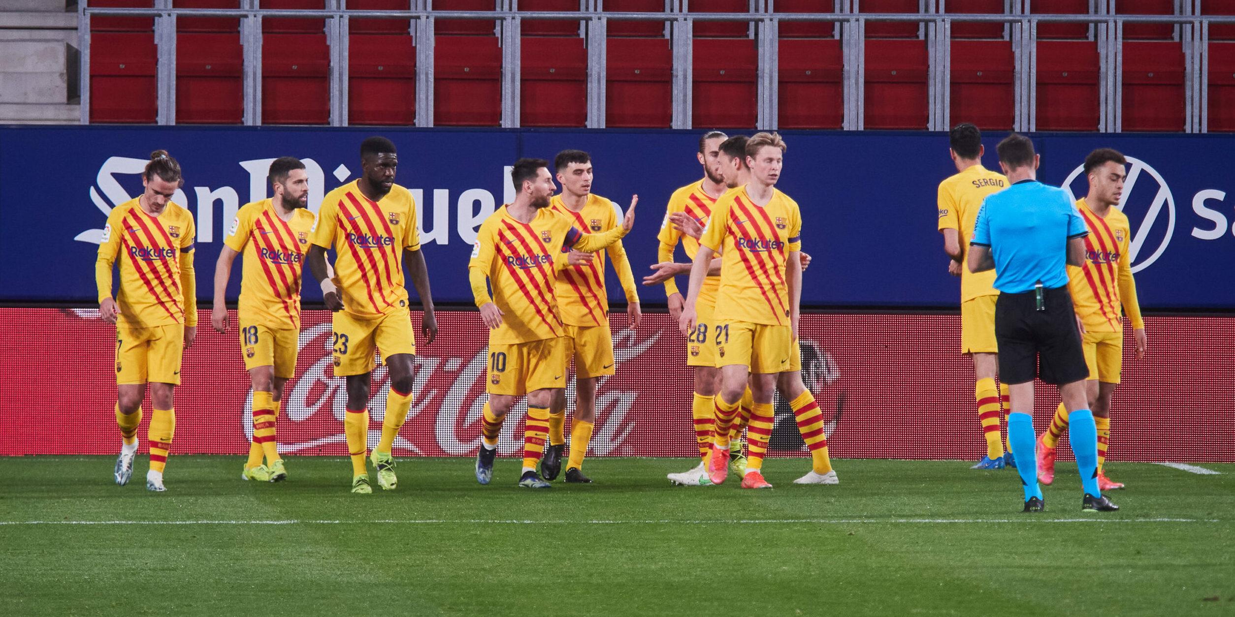 Els jugadors del Barça celebren un gol   Europa Press