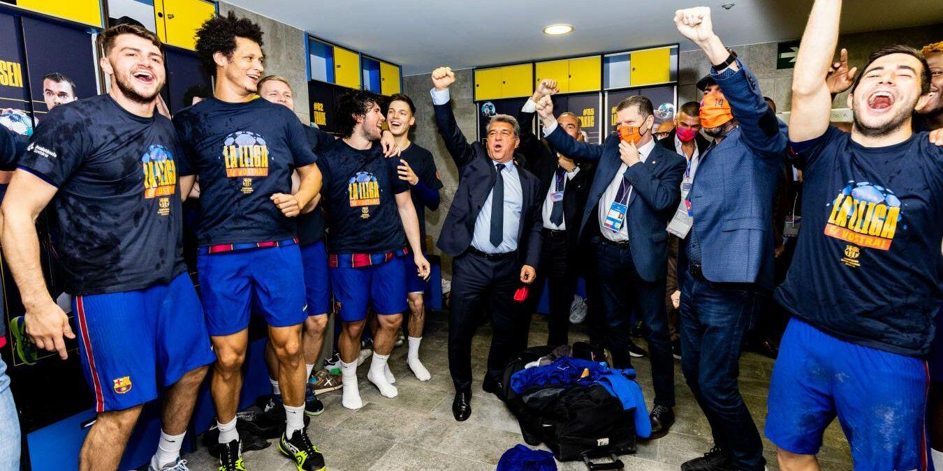 El Barça celebra la Lliga Asobal amb Joan Laporta | FC Barcelona