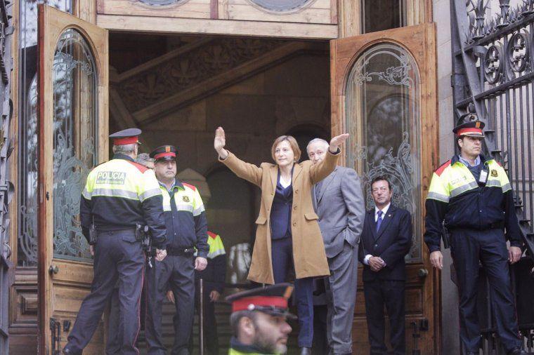 La presidenta del Parlament, Carme Forcadell, abans de declarar al TSJC
