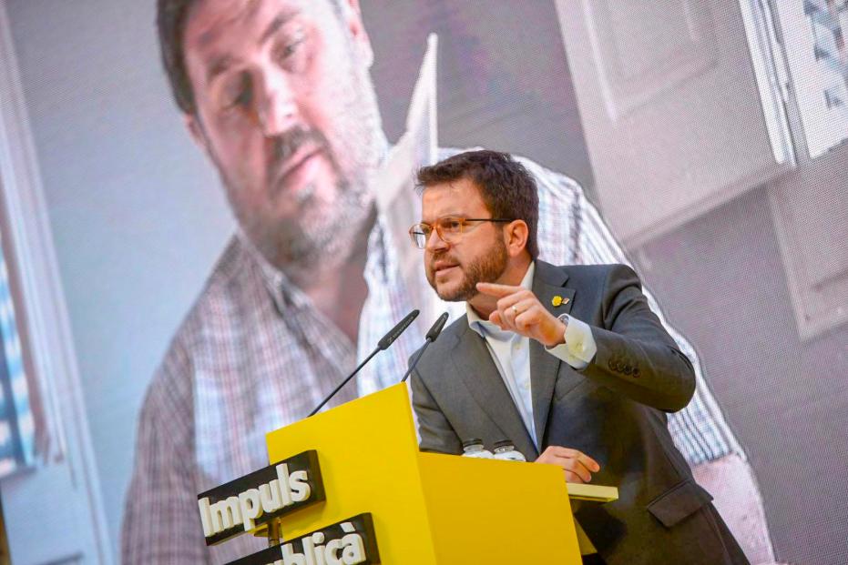 El vicepresident de la Generalitat, Pere Aragonès, durant un acte a Sarrià