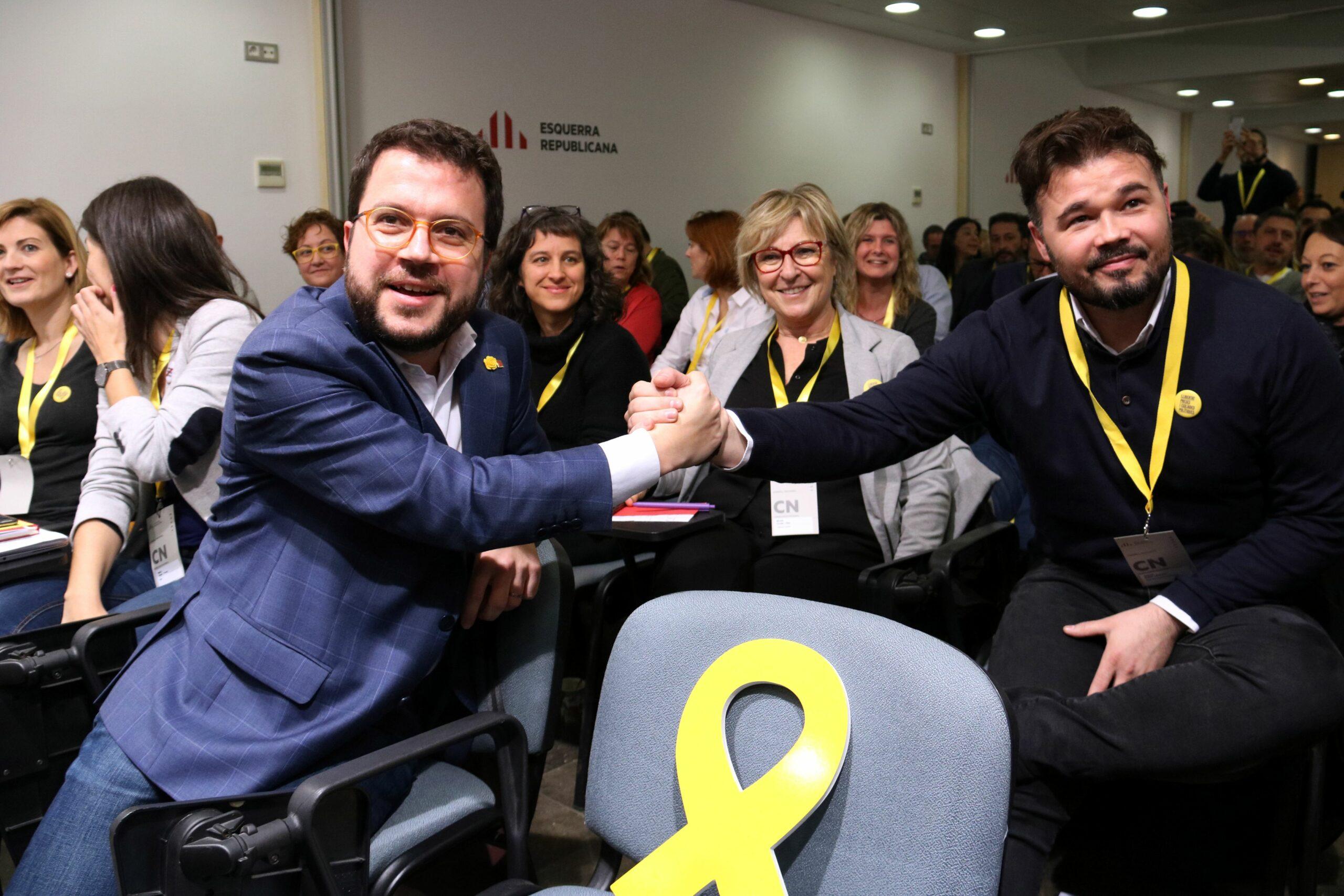 El coordinador nacional d'ERC, Pere Aragonès, i el cap del partit al Congrés, Gabriel Rufián