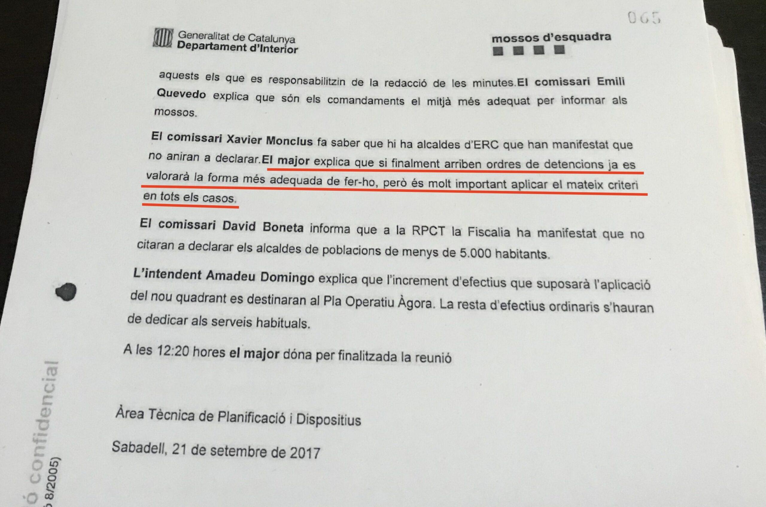 L'acta dels Mossos on preveuen que hauran de detenir alcaldes