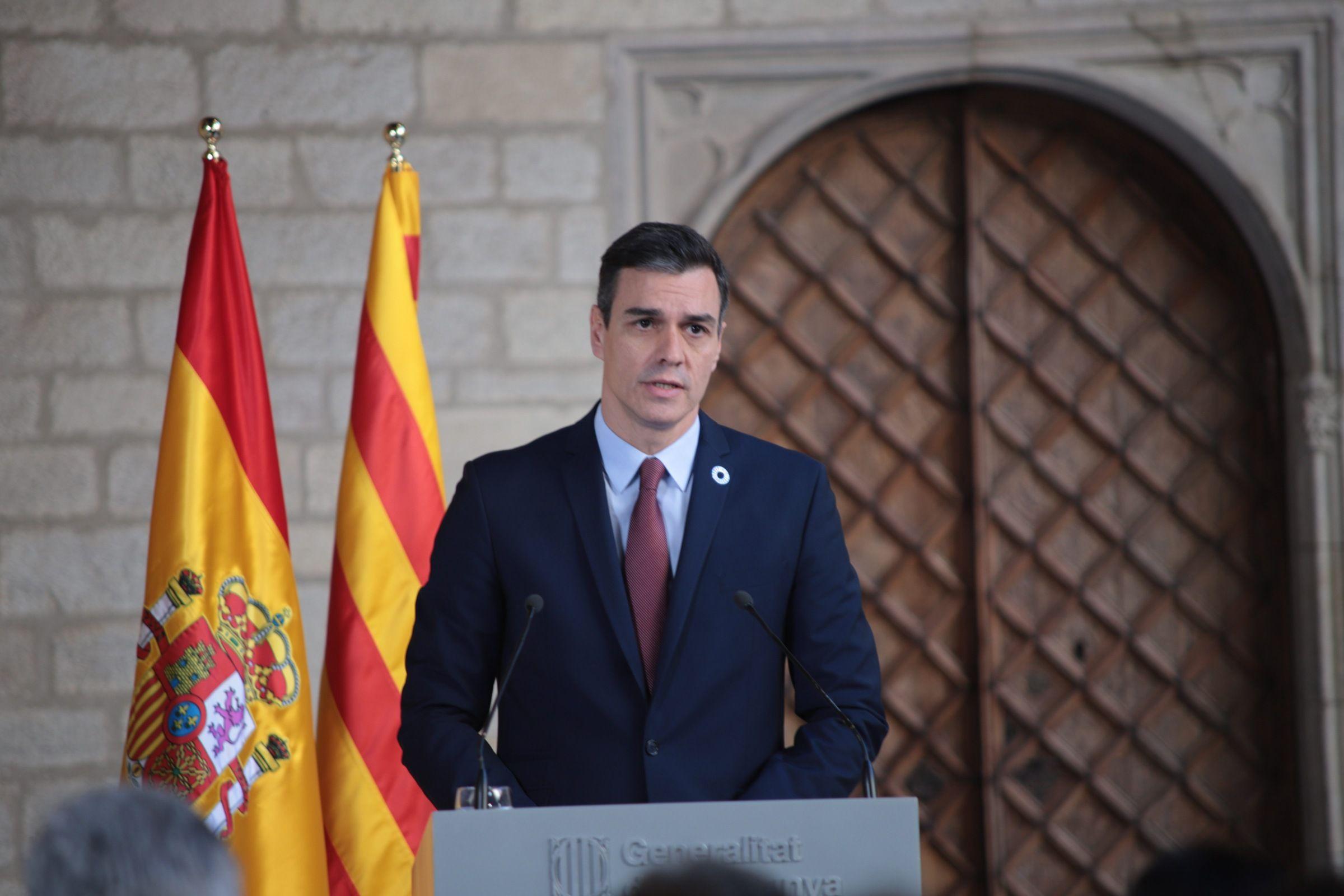 Pedro Sánchez compareix després de reunir-se amb Torra (EP)