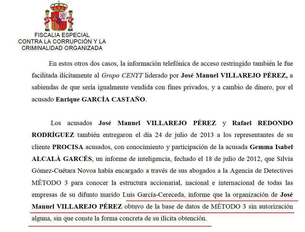 La part de l'escrit de conclusions provisionals de Fiscalia sobre Villarejo i Método 3