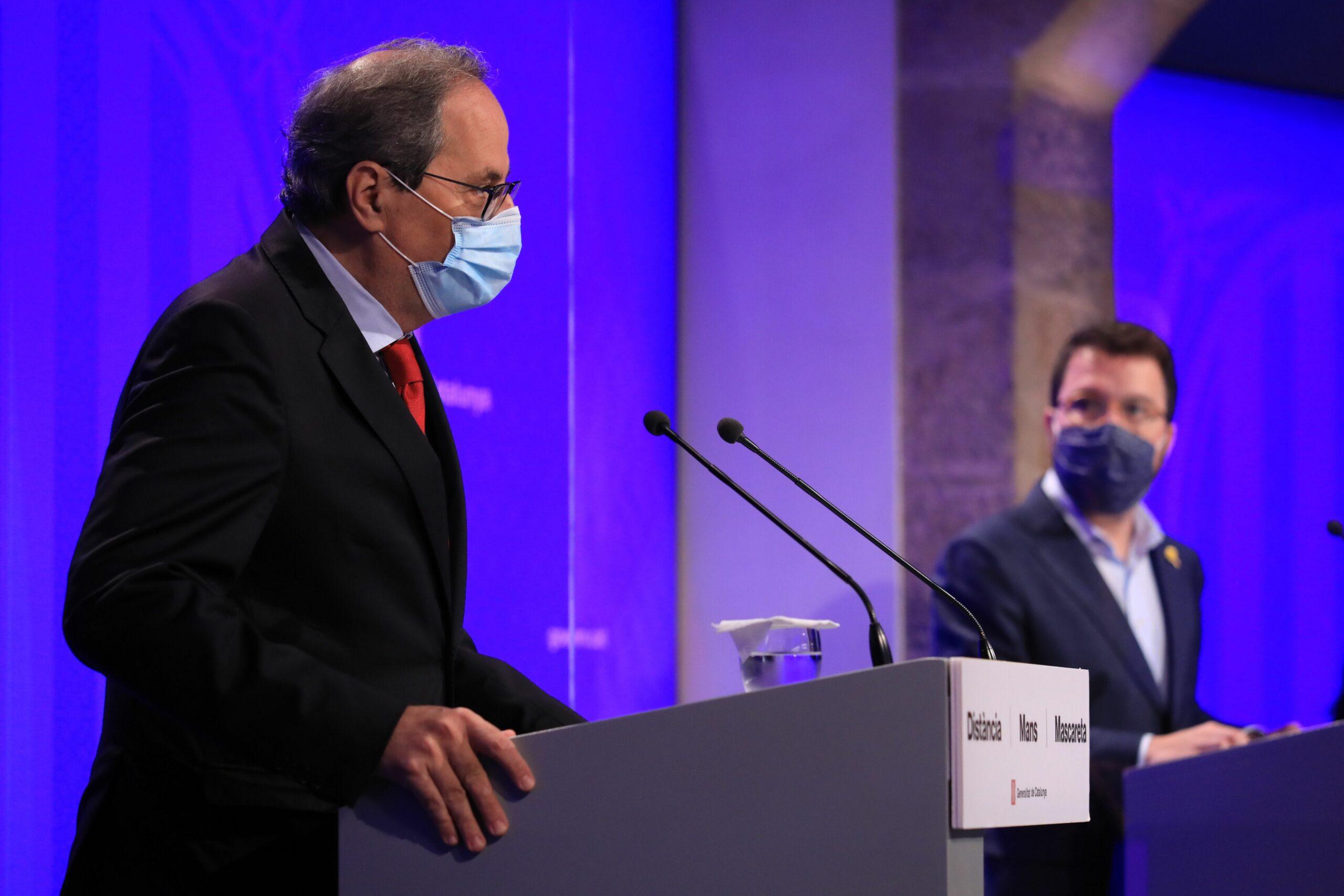 Quim Torra i Pere Aragon?s en roda de premsa (Govern)