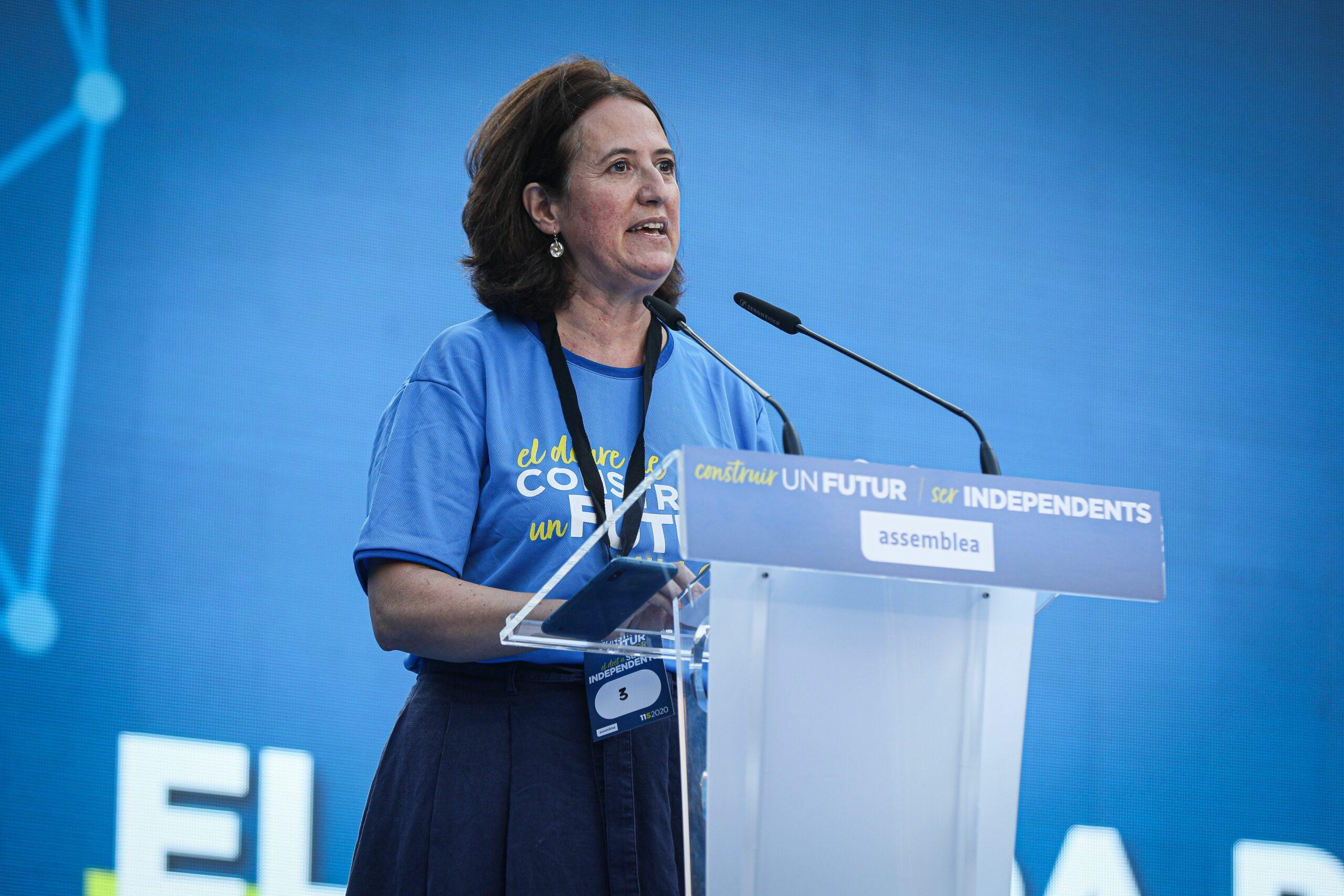 Elisenda Paluzie, presidenta de l'ANC, en l'acte de la plaça Letamendi de la Diada 2020 / Jordi Borràs