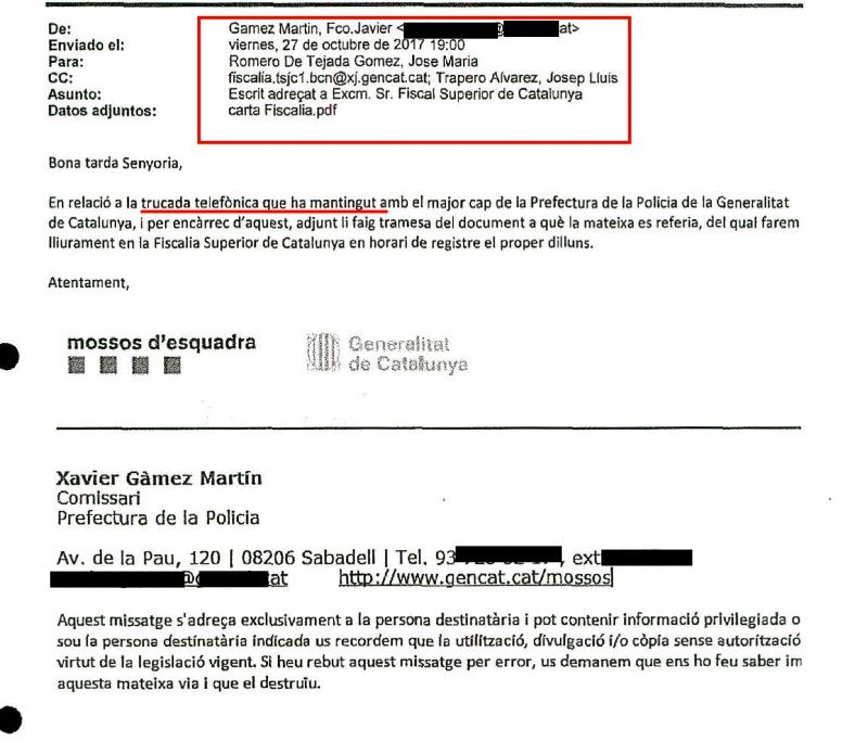 El mail remès pel comissari Gàmez a Romero de Tejada on confirma la conversa de Trapero amb el cap dels fiscals a Catalunya