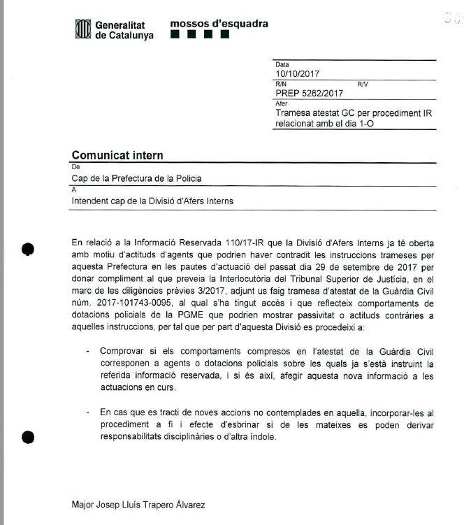 El comunicat de Trapero a Garcia reclamant més investigacions