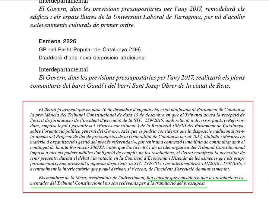 L'avís que Castellà va ignorar transcrit al Butlletí Oficial del Parlament