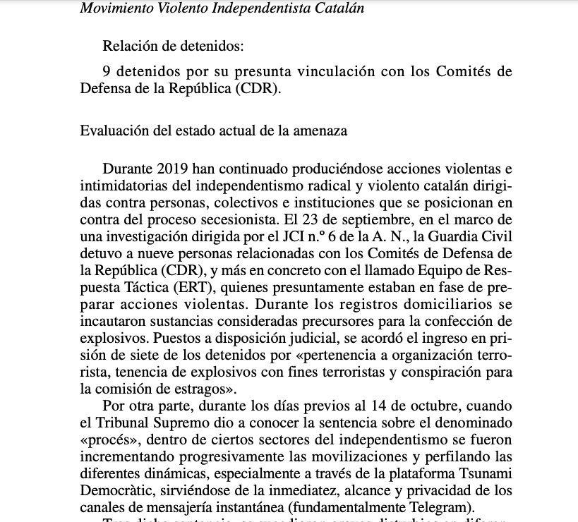 La part de la Memòria Anual de la Fiscalia on inclou Tsunami i els CDR com a terrorisme nacional