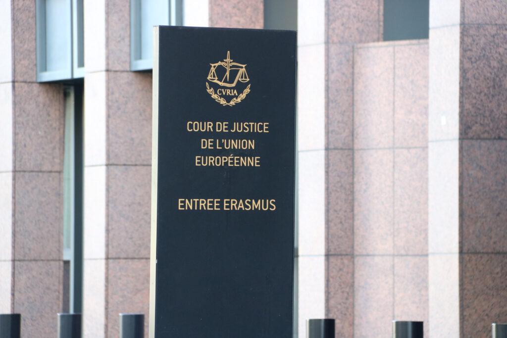 El cartell del Tribunal de Justícia de la UE (TJUE) a Luxemburg