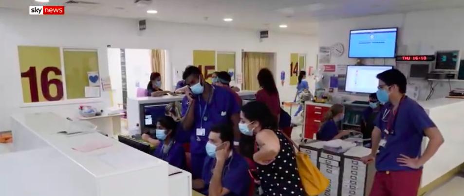 L'interior d'un hospital a Londres / Sky News