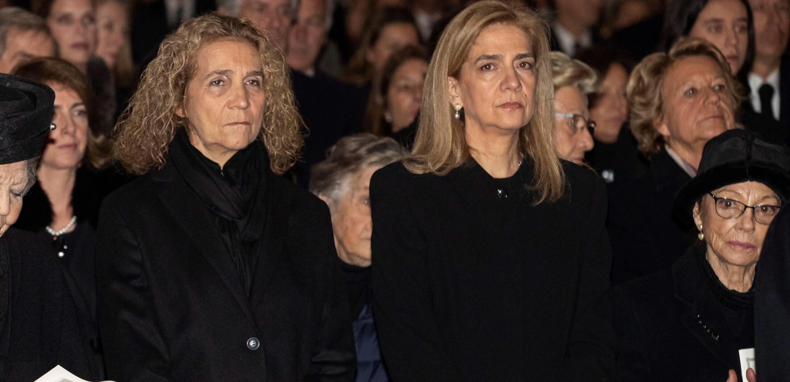 Elena i Cristina de Borbó, juntes en el funeral de la tieta / Europa Press