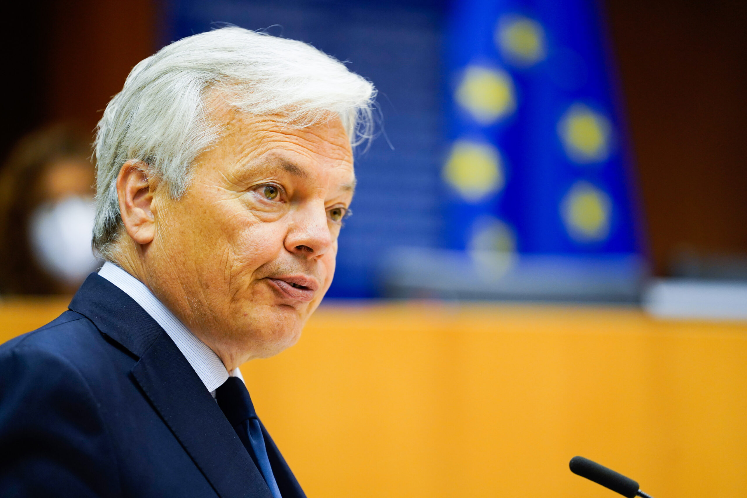 L'eurocomissari de Justícia, Didier Reynders, durant una compareixença a l'Eurocambra, al maig del 2020 / ACN