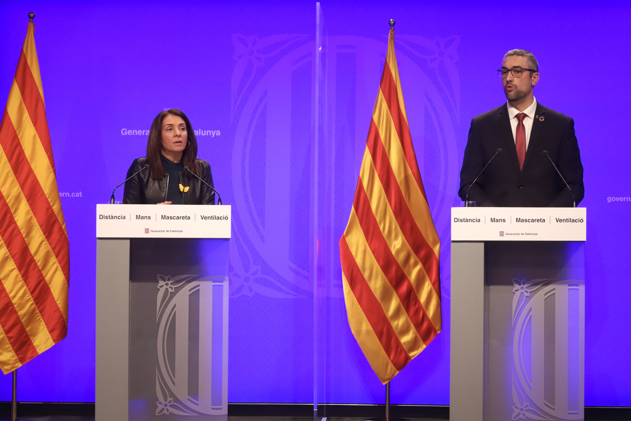 La portaveu del Govern, Meritxell Budó, i el conseller d'Exteriors, Bernat Solé   ACN