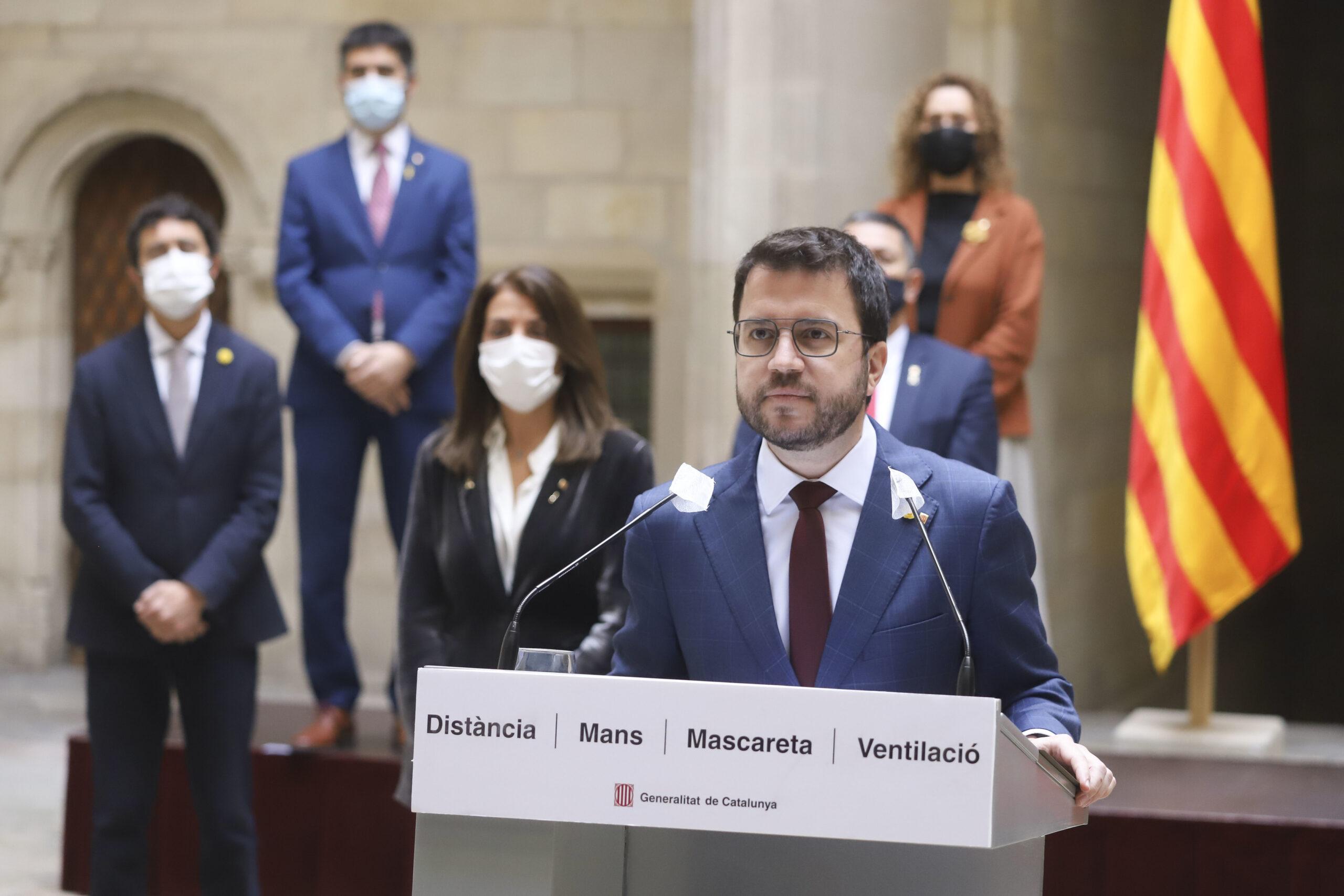 El vicepresident del Govern, Pere Aragonès, avui en compareixença al Palau de la Generalitat / ACN