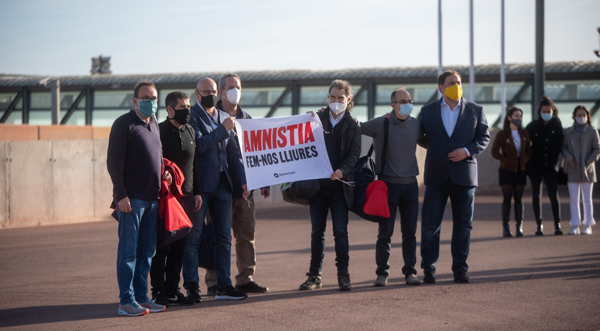 Els presos polítics de Lledoners, a la seva sortida aquest divendres Marc Puig