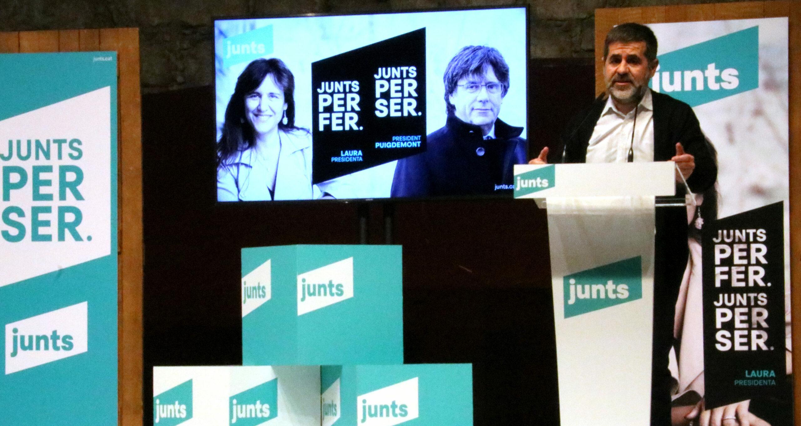 El secretari general de Junts, Jordi Sànchez, en un acte de campanya del partit a Manresa, el 30 de gener de 2021 (Horitzontal)
