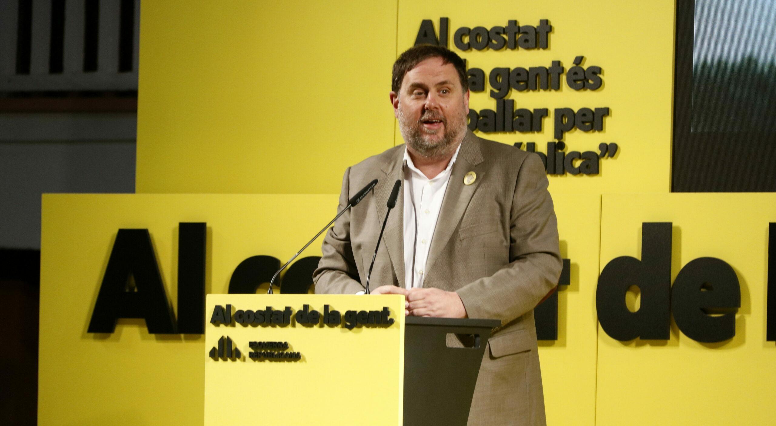 El president d'ERC, Oriol Junqueras, en un míting a l'Hospitalet ACN
