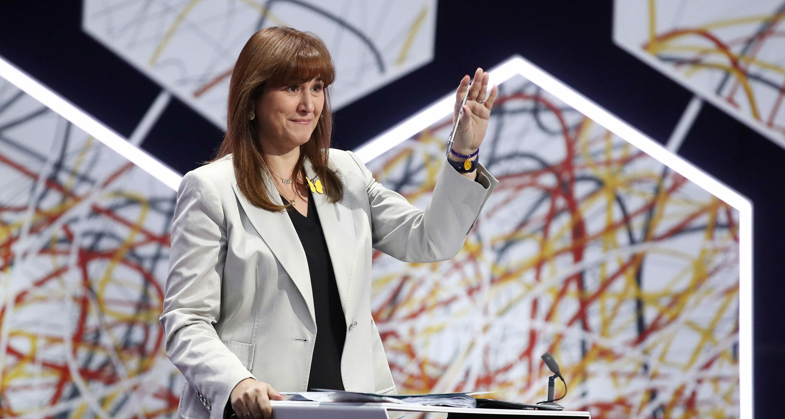 La candidata de JxC a les eleccions al 14-F, Laura Borràs, durant el debat electoral de 'La Sexta' | ACN